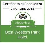 Trip Advisor certificate of excellence Best Western Park Hotel Roma nord Fiano Romano